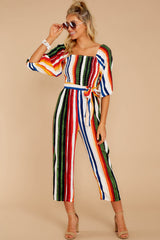 6 Come To Cabo Orange Rainbow Stripe Jumpsuit at reddressboutique.com