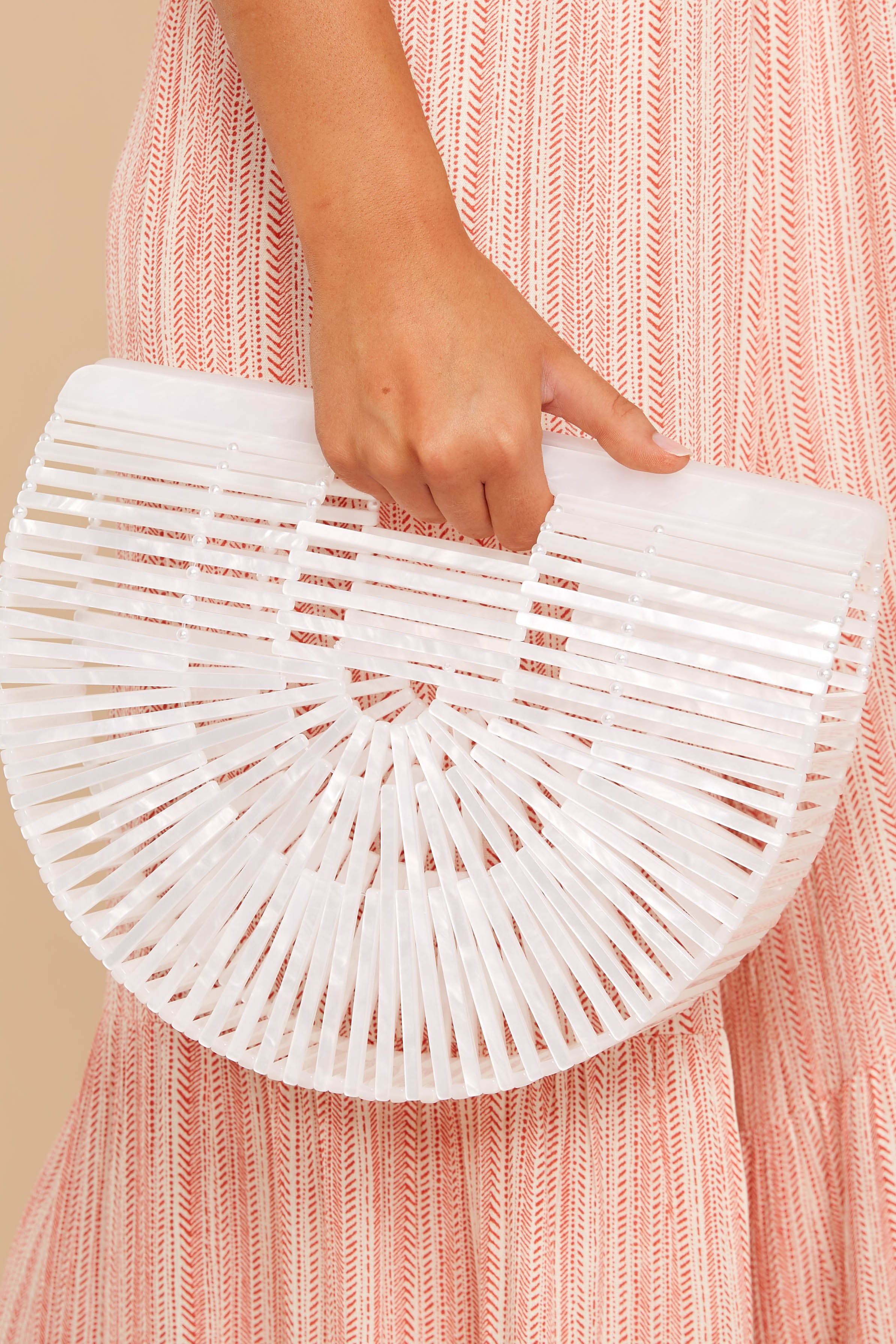 9 Up Your Style White Bamboo Bag at reddressboutique.com