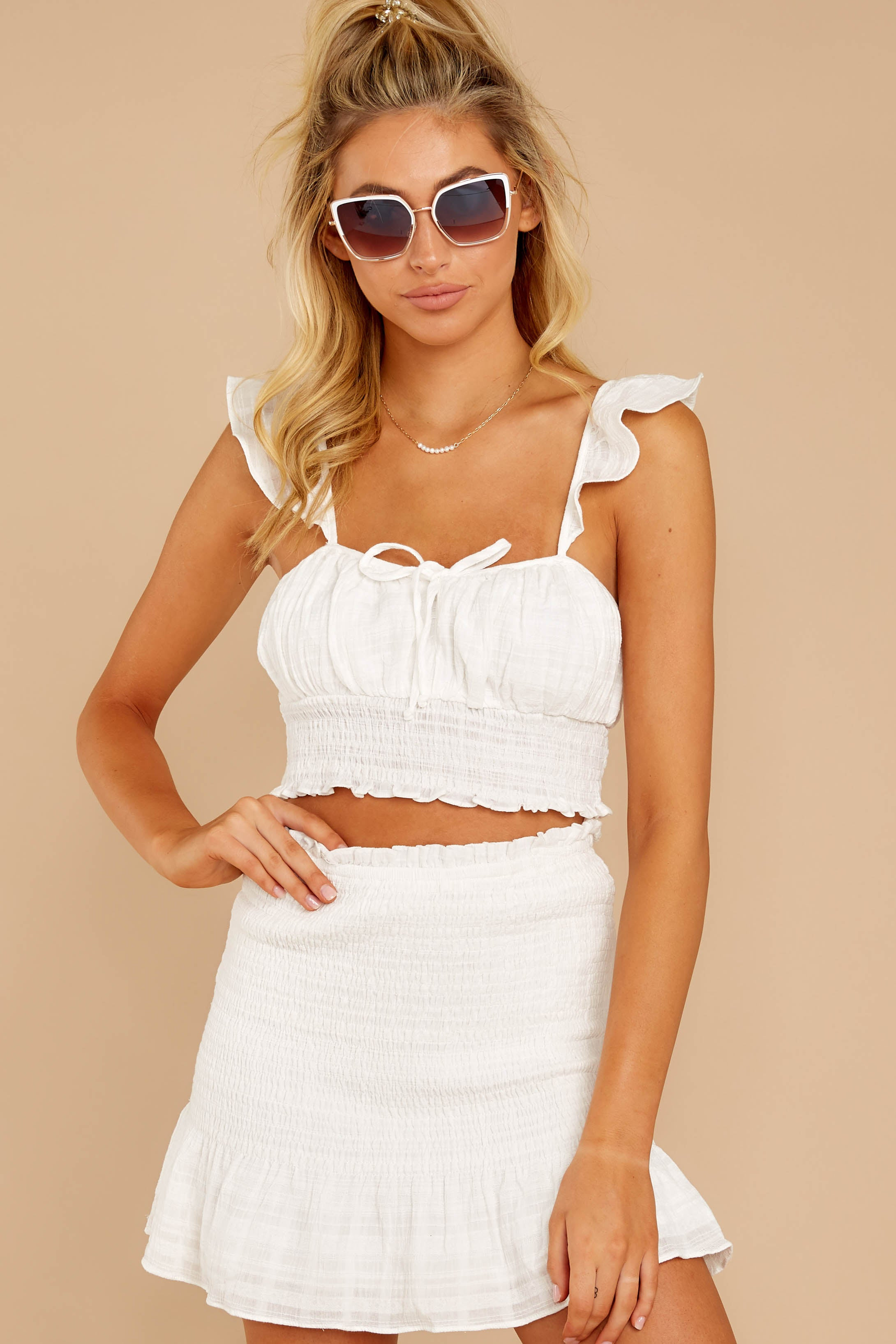 5 Fly Away Tonight White Two Piece Set at reddressboutique.com