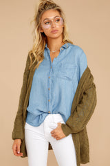 6 Evan Light Chambray Button Up Top at reddress.com