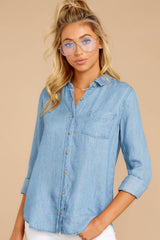 1 Evan Light Chambray Button Up Top at reddress.com