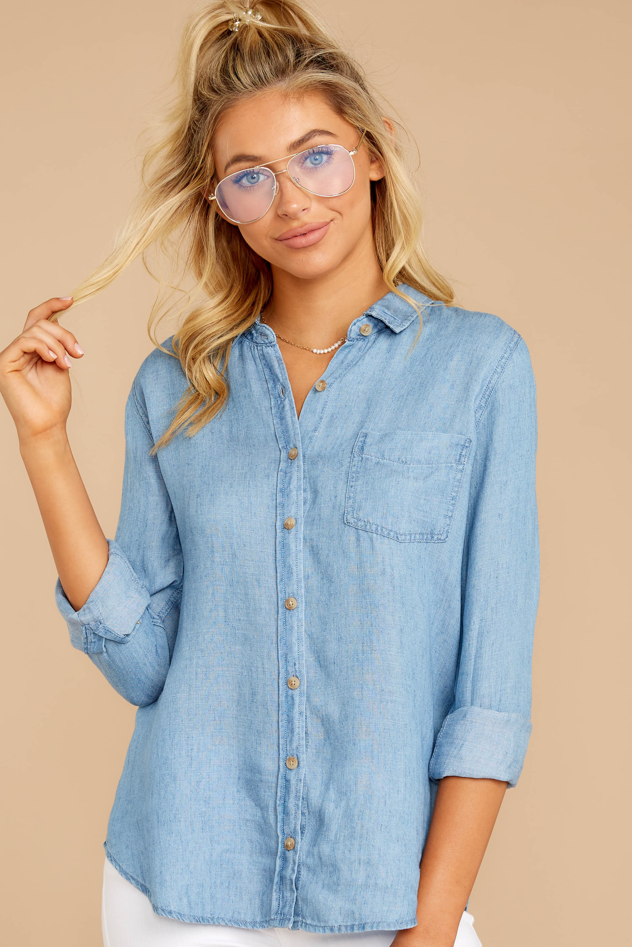 2 Evan Light Chambray Button Up Top at reddress.com