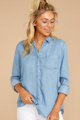 3 Evan Light Chambray Button Up Top at reddress.com