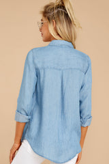 4 Evan Light Chambray Button Up Top at reddress.com