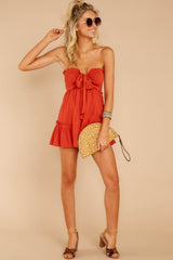 2 In Spades Spiced Orange Romper at reddressboutique.com