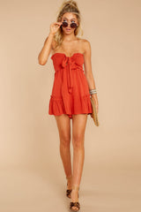 3 In Spades Spiced Orange Romper at reddressboutique.com