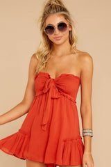 6 In Spades Spiced Orange Romper at reddressboutique.com
