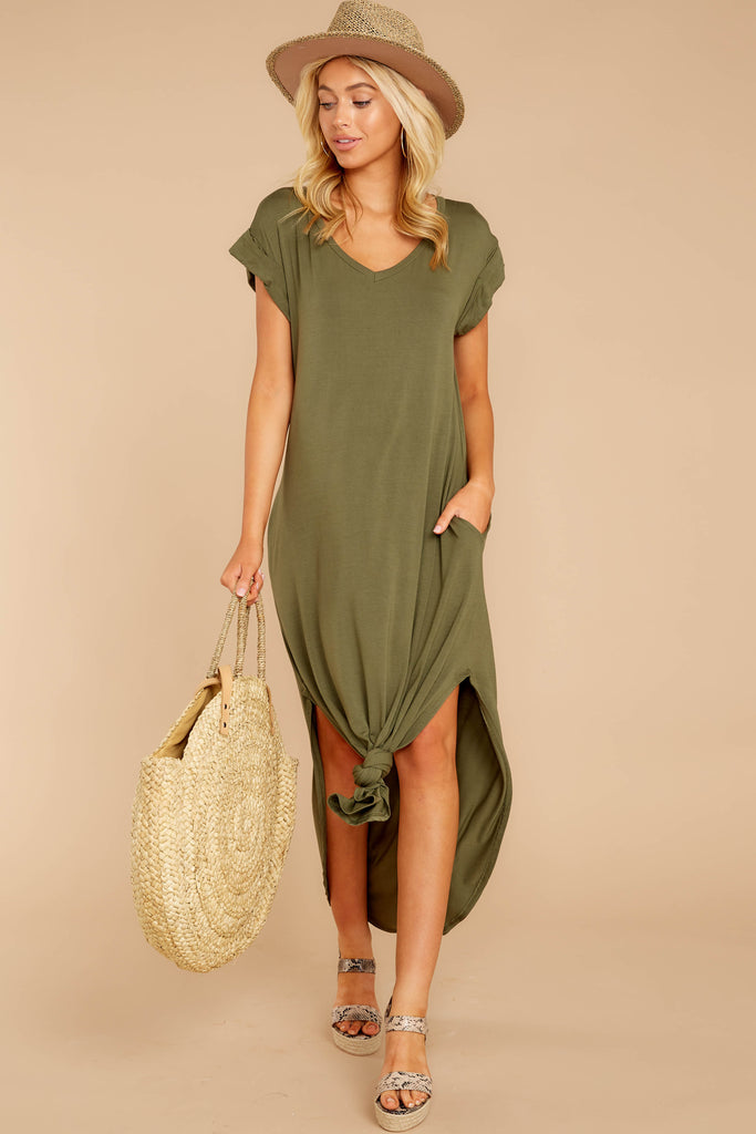 1 Always The Same Thing Olive Green Maxi Dress at reddressboutique.com
