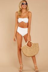 6 Mermaid Sighting White Eyelet Bikini Top at reddress.com