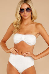7 Mermaid Sighting White Eyelet Bikini Top at reddress.com