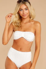 4 Mermaid Sighting White Eyelet Bikini Top at reddress.com
