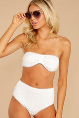 5 Mermaid Sighting White Eyelet Bikini Top at reddressboutique.com