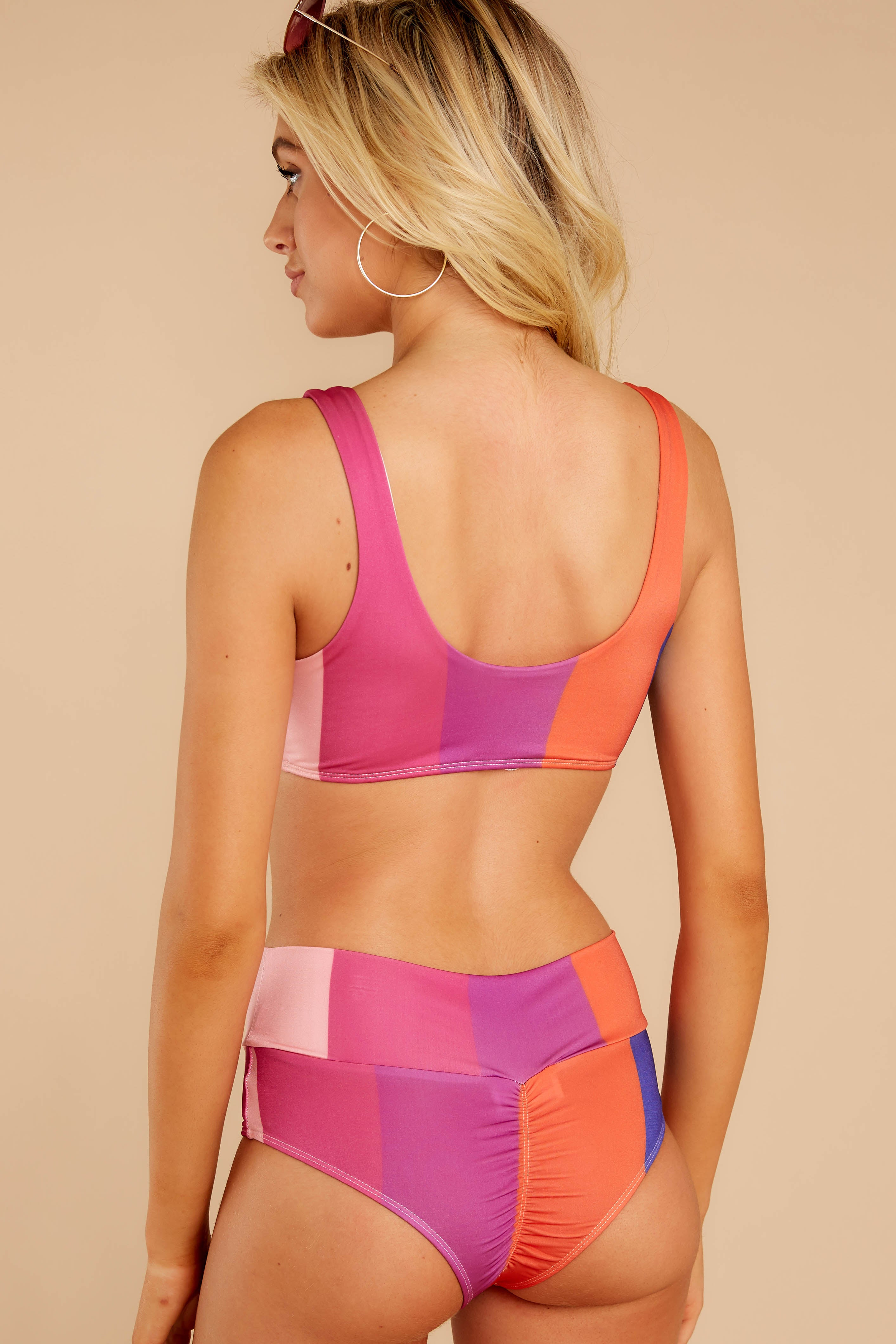 7 Sun Blocked Time Pink Multi Stripe Bikini Top at reddressboutique.com