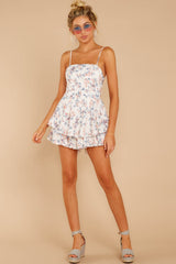 3 All About Love White Floral Print Romper at reddressboutique.com