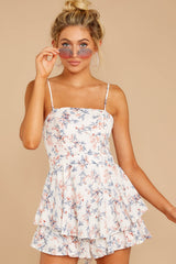 5 All About Love White Floral Print Romper at reddressboutique.com