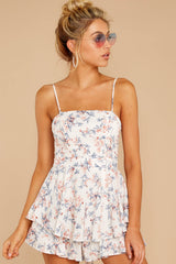 6 All About Love White Floral Print Romper at reddressboutique.com