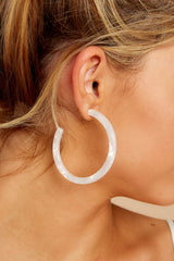 All Cleared Up White Acrylic Hoop Earrings