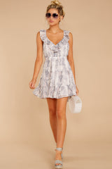 2 Enthralling Charmer Grey Snake Print Dress at reddressboutique.com