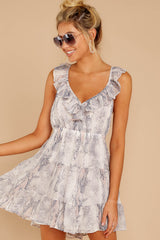4 Enthralling Charmer Grey Snake Print Dress at reddressboutique.com