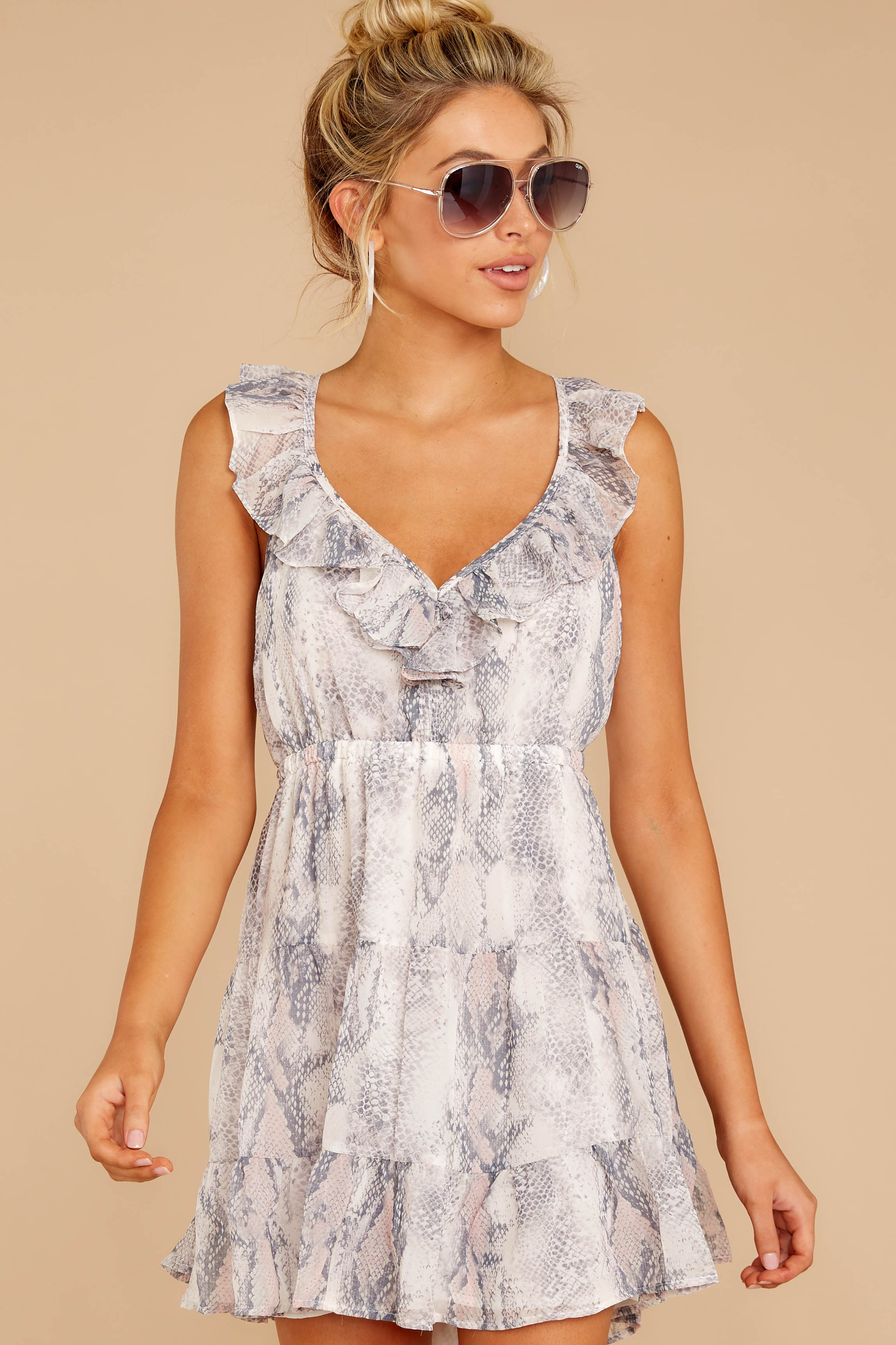 5 Enthralling Charmer Grey Snake Print Dress at reddressboutique.com