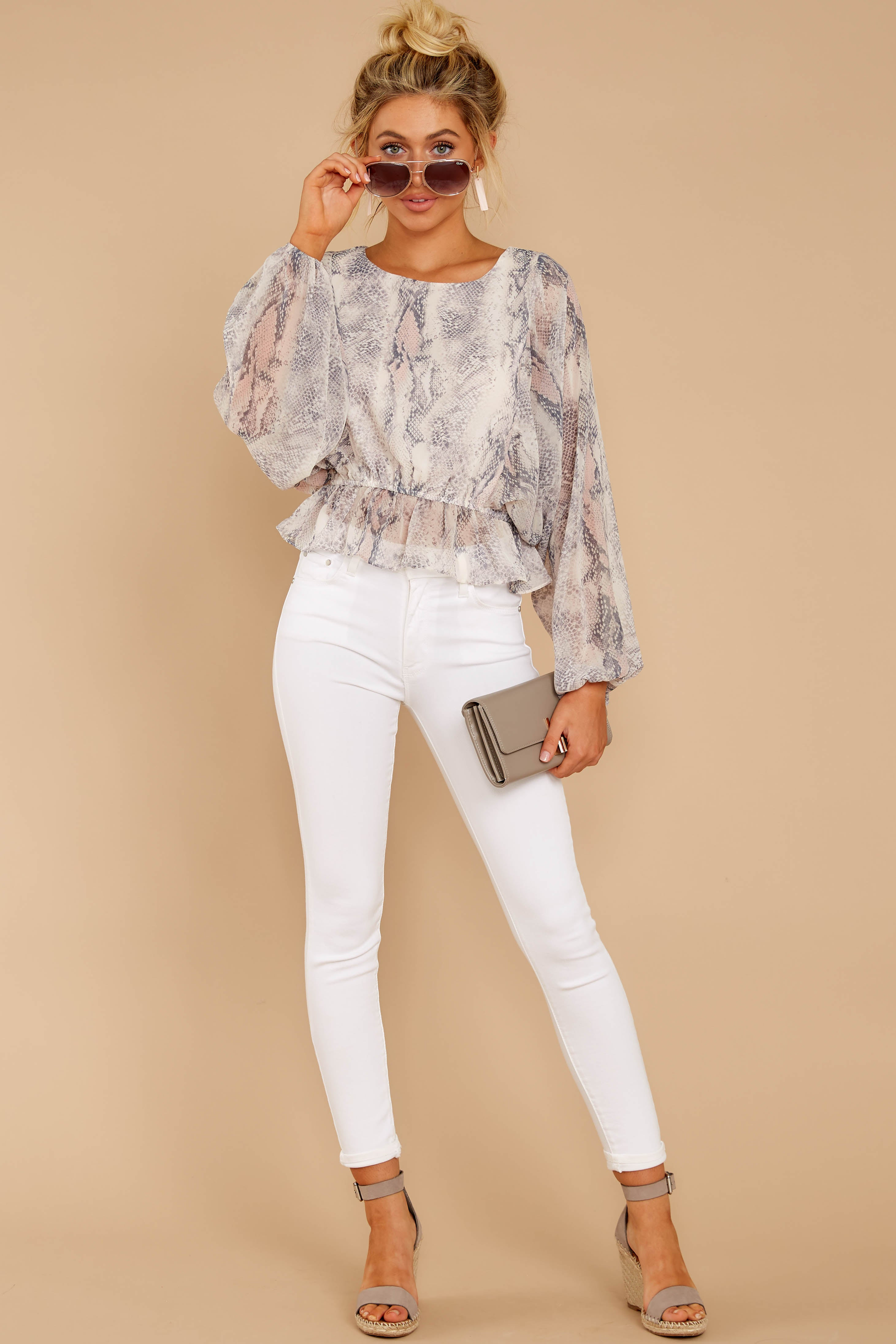 1 Something So Great Blush Multi Snake Print Top at reddressboutique.com