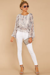 3 Something So Great Blush Multi Snake Print Top at reddressboutique.com