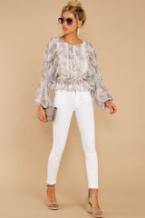 4 Something So Great Blush Multi Snake Print Top at reddressboutique.com