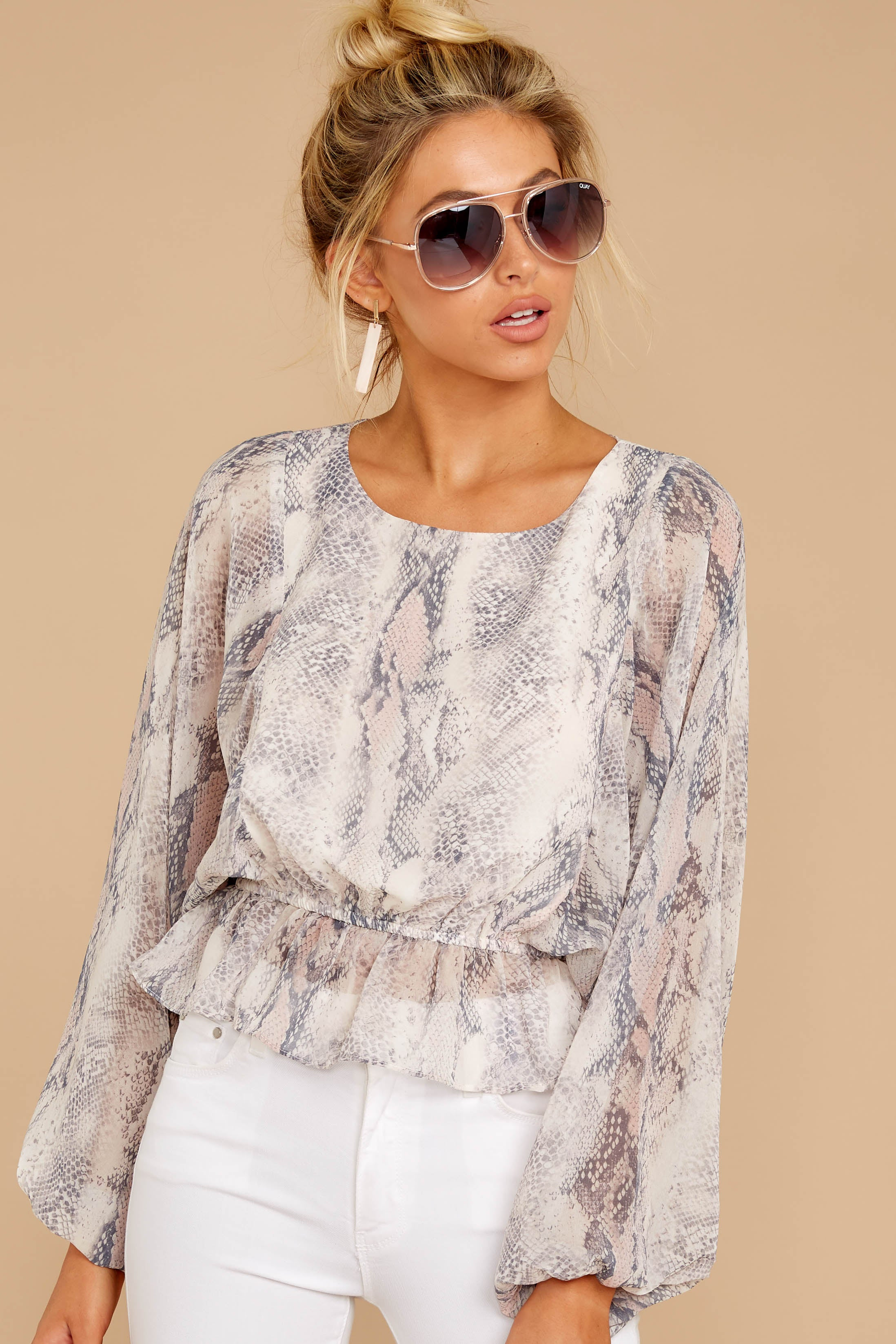 5 Something So Great Blush Multi Snake Print Top at reddressboutique.com