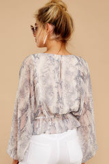 8 Something So Great Blush Multi Snake Print Top at reddressboutique.com