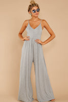 V-neck Open-Back Smocked Princess Seams Waistline Evening Dress/Jumpsuit