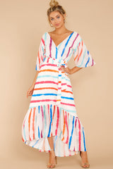 2 Lighthearted Laughing Rainbow Stripe Maxi Dress at reddressboutique.com