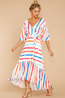 Tall V-neck Hidden Back Zipper Belted Faux Wrap Bubble Dress Striped Print Puff Sleeves Sleeves High-Low-Hem Short Tie Waist Waistline Polyester Maxi Dress With a Sash