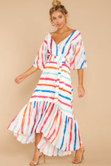 4 Lighthearted Laughing Rainbow Stripe Maxi Dress at reddressboutique.com