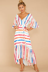 5 Lighthearted Laughing Rainbow Stripe Maxi Dress at reddressboutique.com