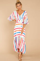 3 Lighthearted Laughing Rainbow Stripe Maxi Dress at reddressboutique.com