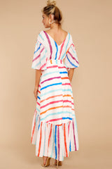 6 Lighthearted Laughing Rainbow Stripe Maxi Dress at reddressboutique.com