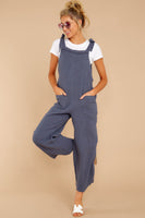 Pocketed V Back Summer Fall Square Neck Cotton Loose Fit Jumpsuit