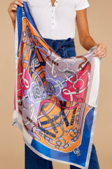 She Rides Away Blue Multi Print Scarf