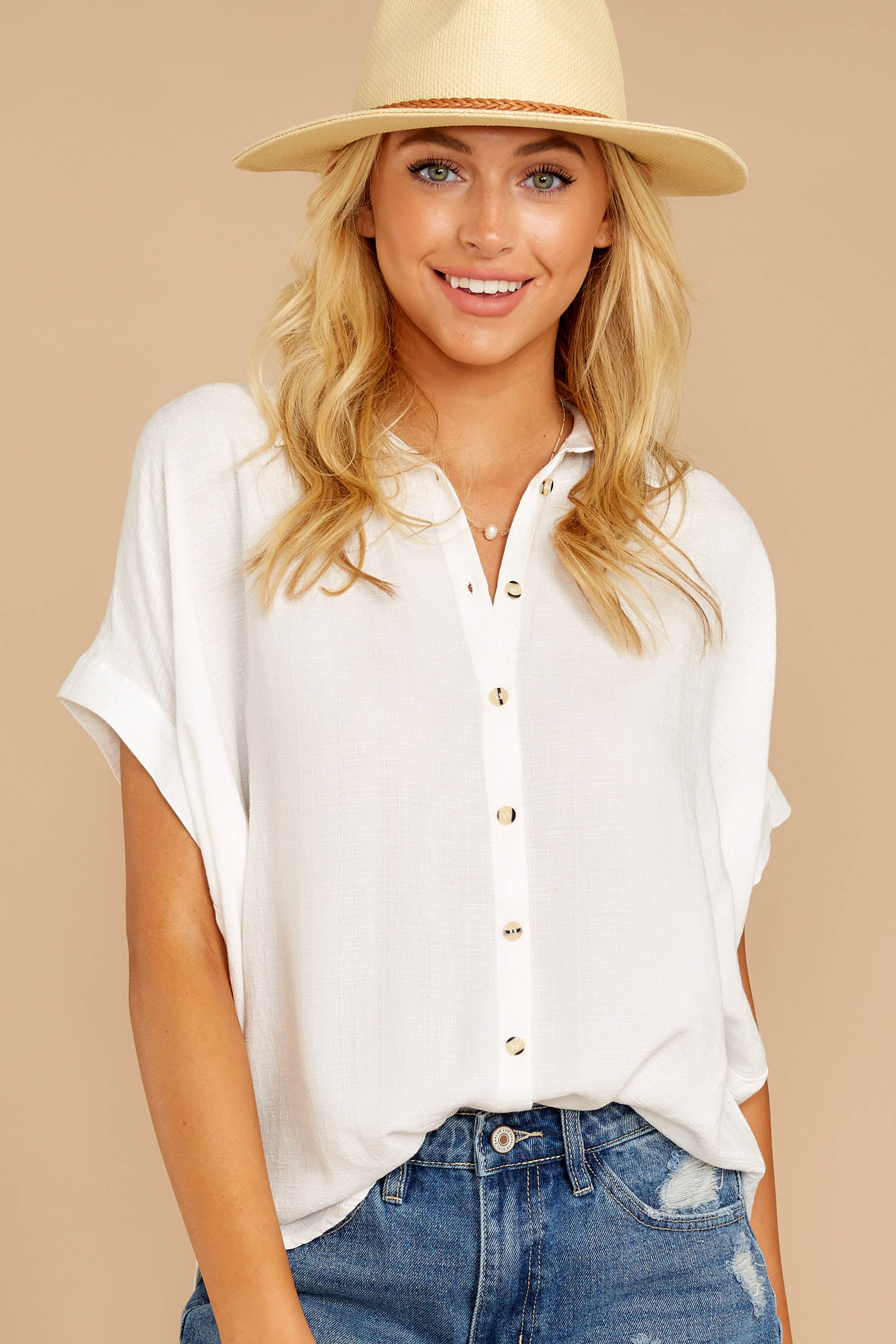 4 Make A Deal White Button Up Top at reddressboutique.com