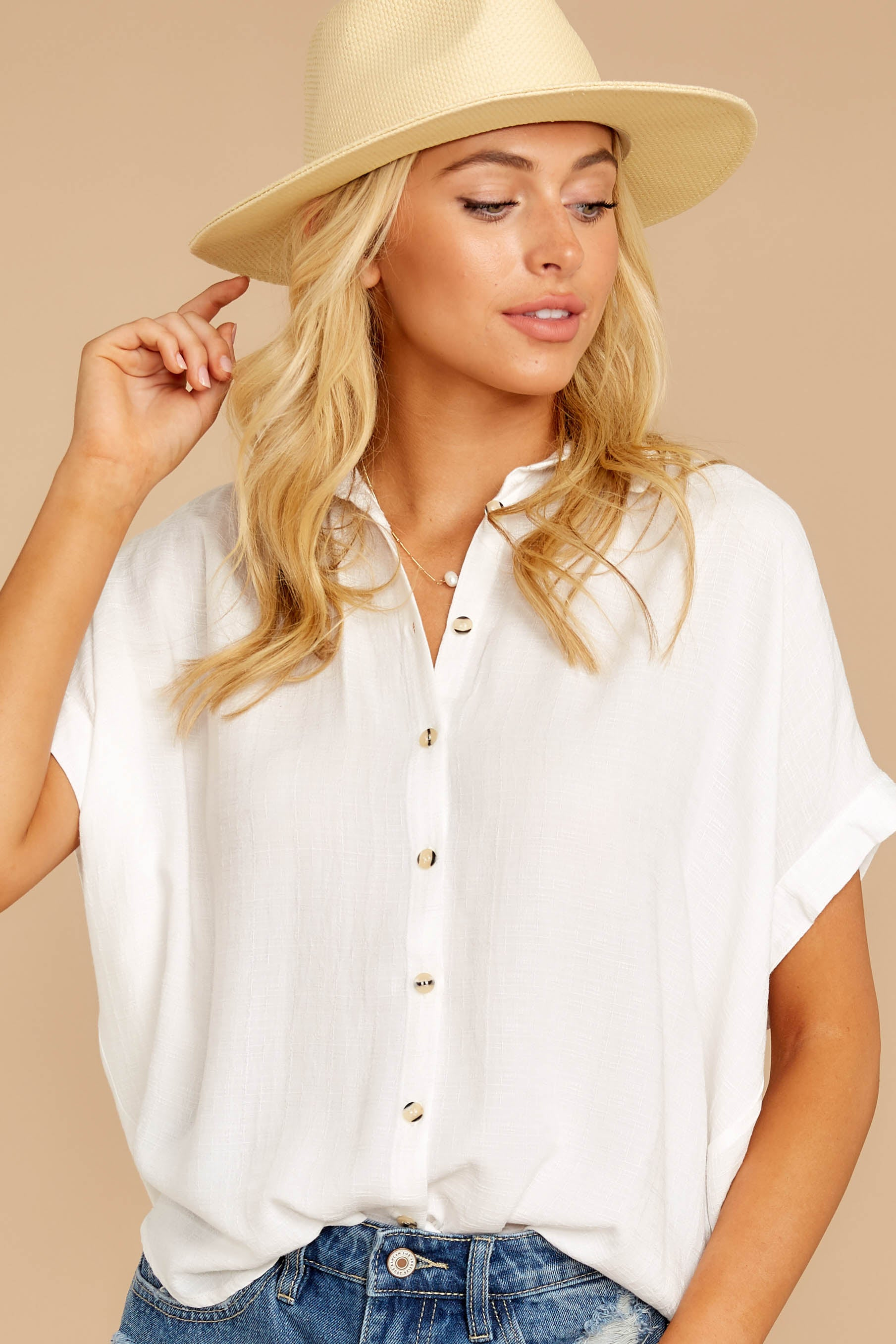 5 Make A Deal White Button Up Top at reddressboutique.com