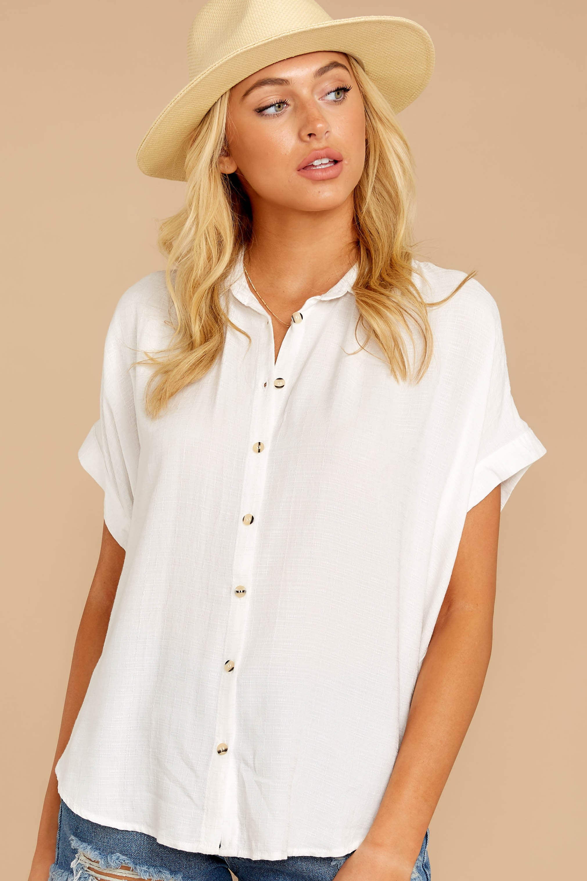 6 Make A Deal White Button Up Top at reddressboutique.com