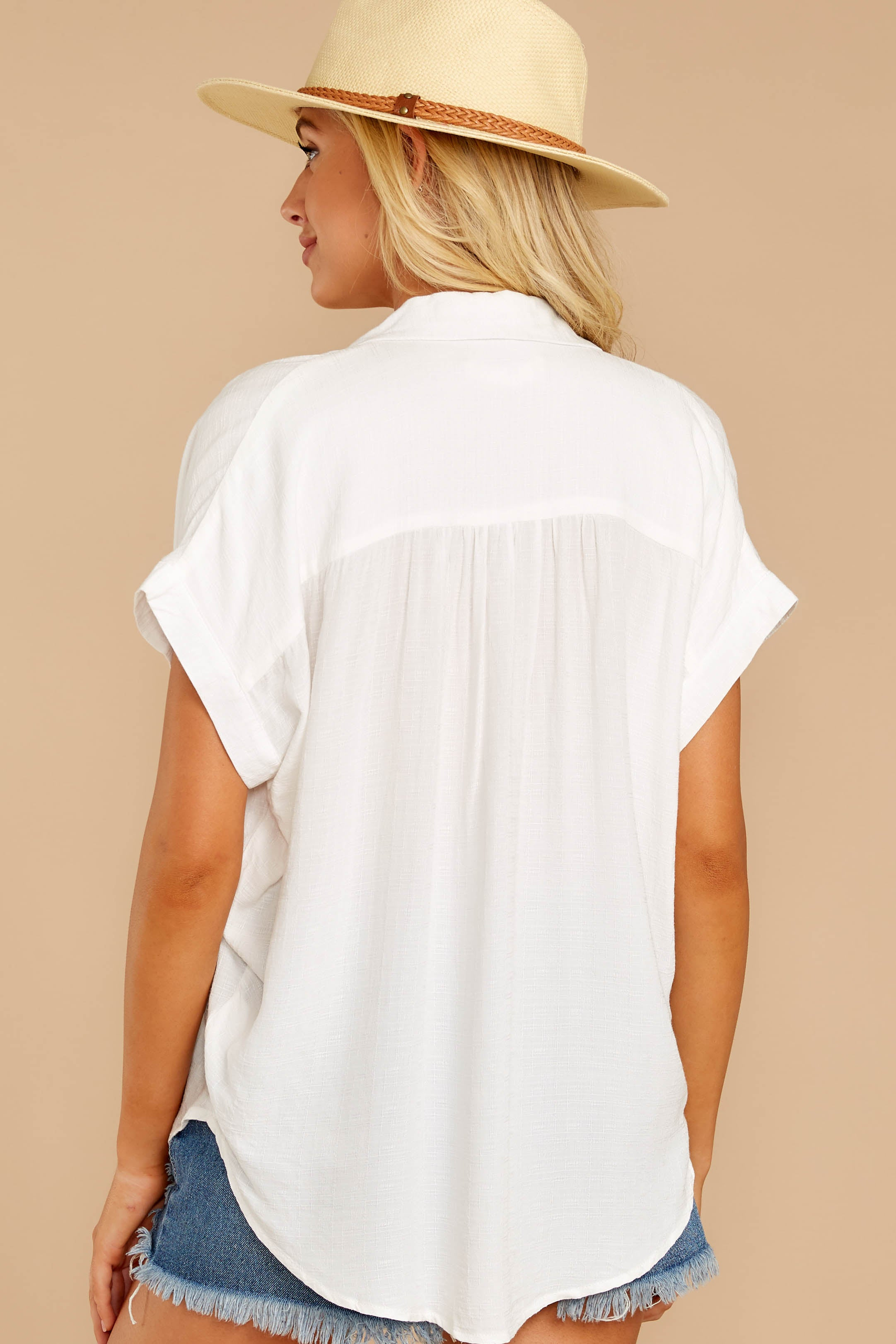 7 Make A Deal White Button Up Top at reddressboutique.com