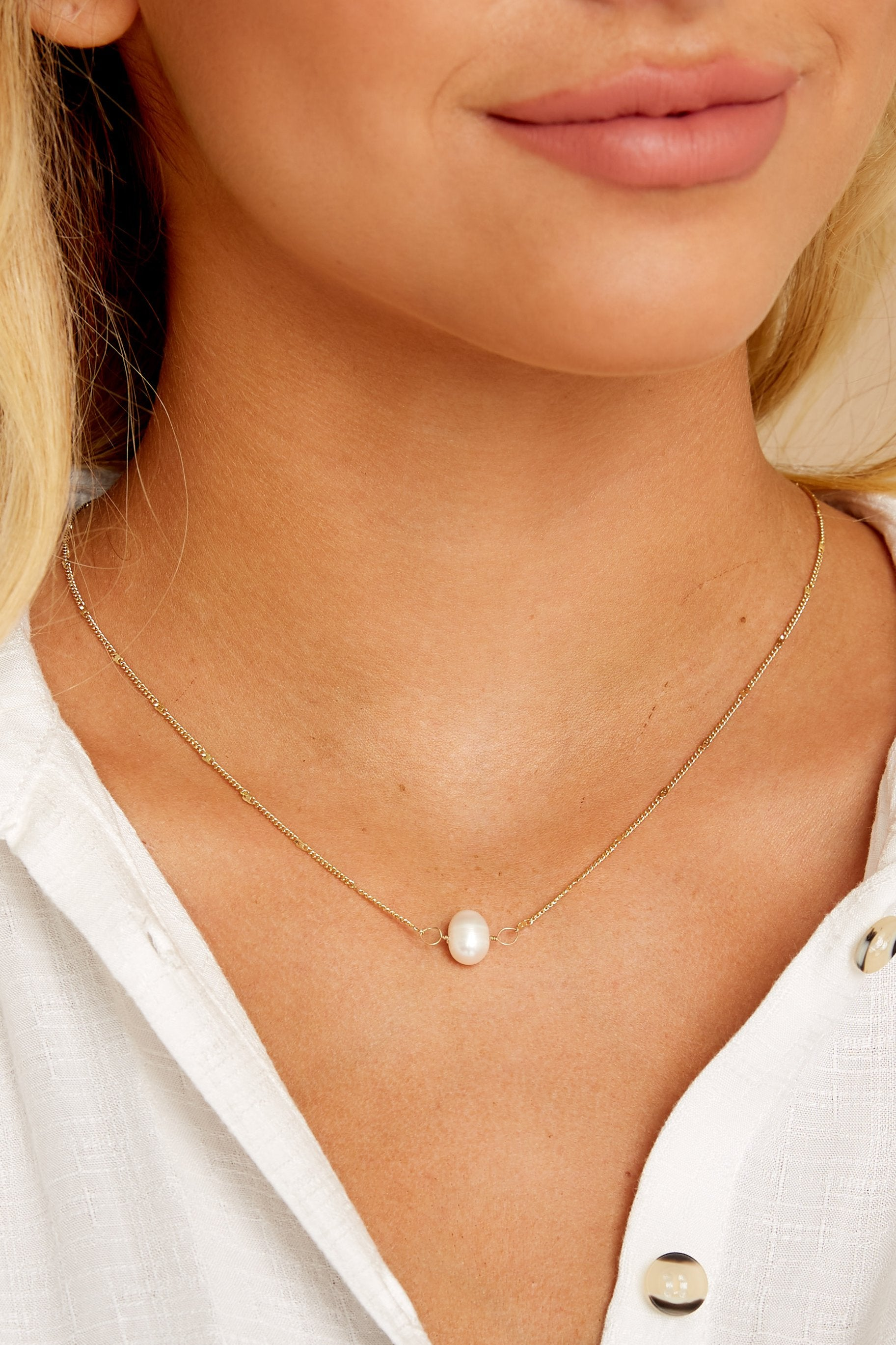 1 Salt Water Chaser Gold Pearl Necklace at reddressboutique.com