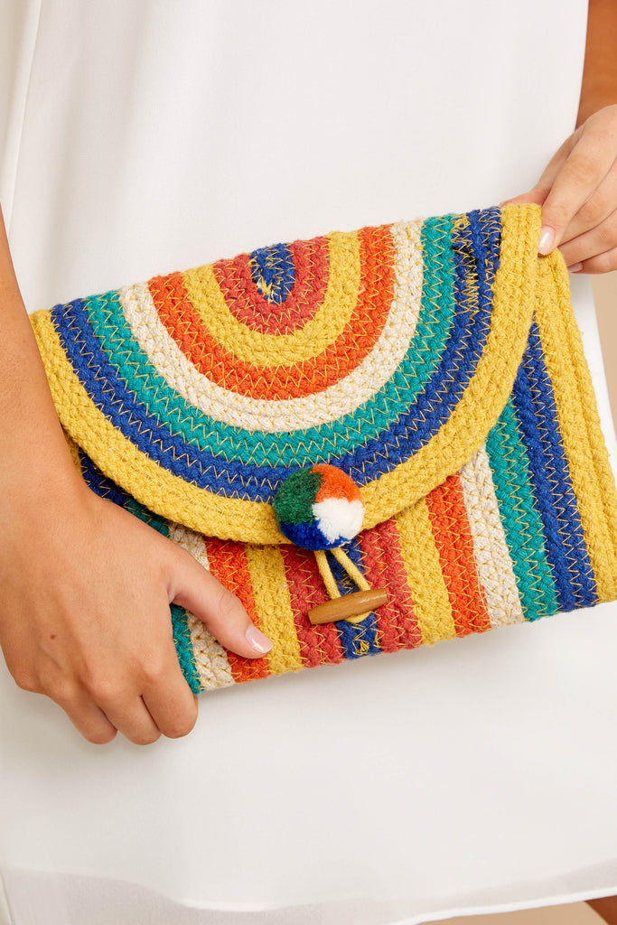 1 Wander Alone Blue and Yellow Clutch at reddressboutique.com