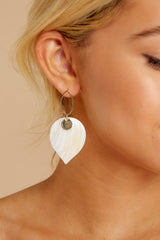 Hearts Over Spades White and Gold Earrings