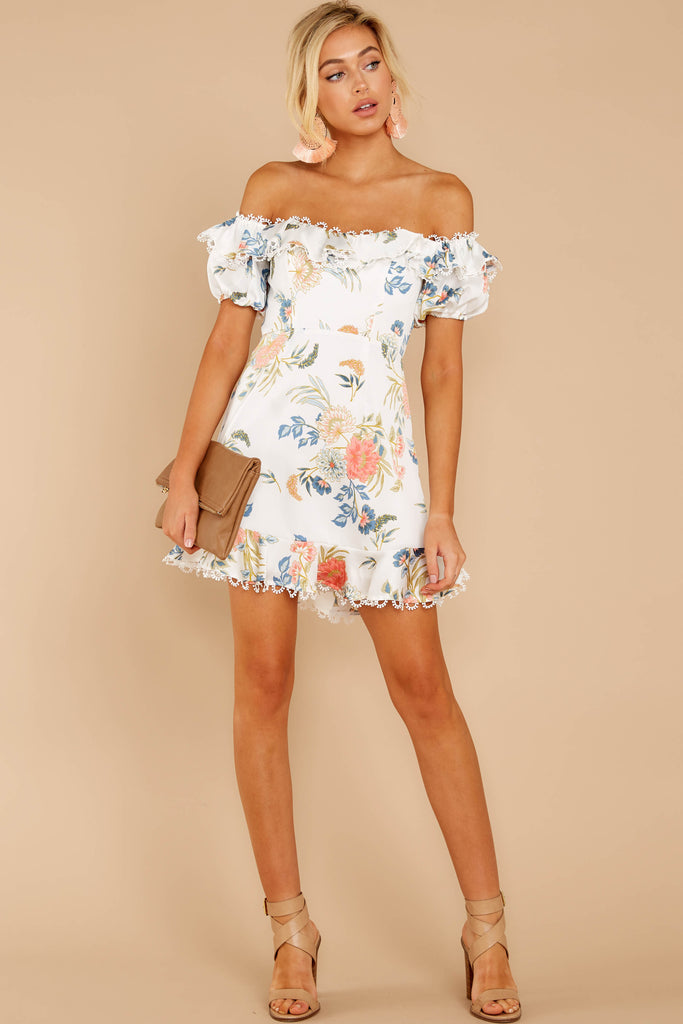 1 Could Do No Wrong Ivory Floral Print Dress at reddressboutique.com