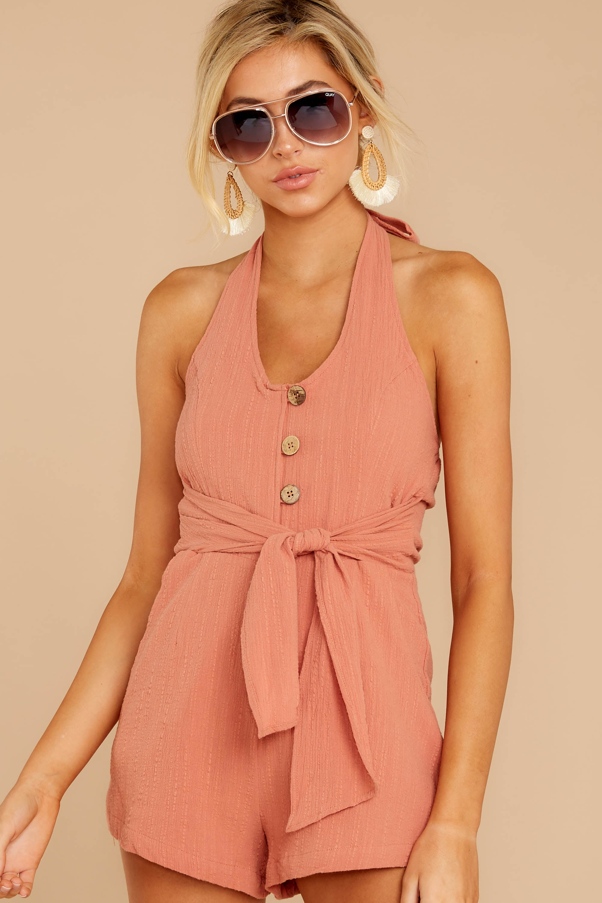 5 Inspire Optimism Clay Romper at reddressboutique.com