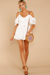 2 Find The Moment White Cold Shoulder Romper at reddressboutique.com