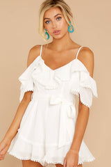3 Find The Moment White Cold Shoulder Romper at reddressboutique.com