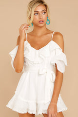 4 Find The Moment White Cold Shoulder Romper at reddressboutique.com